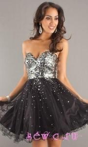 Шикарное короткое пышное вечернее платье
