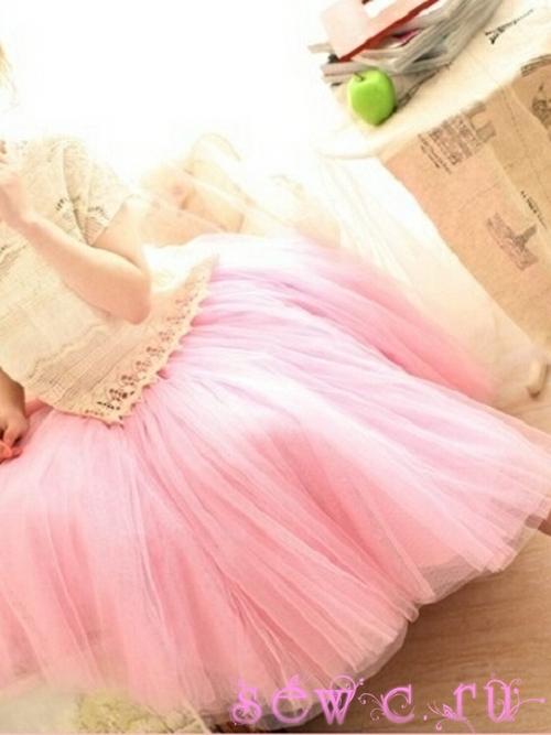Юбка из сетки принцесса персиковая дл