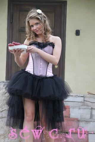Пышная юбка пачка со шлейфом, 4 яруса, черная.