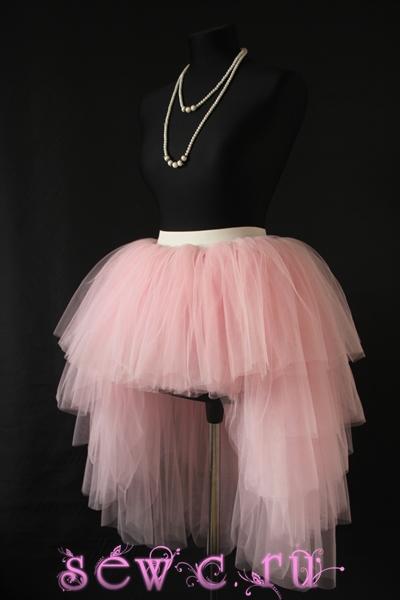 Пышная юбка пачка со шлейфом, 5 ярусов, розовая.