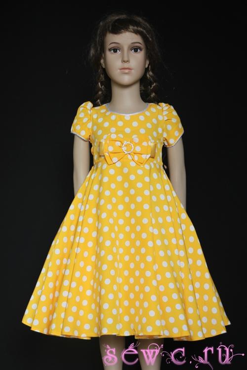 Платье в горошек для девочки с подъюбником (ретро), желтое