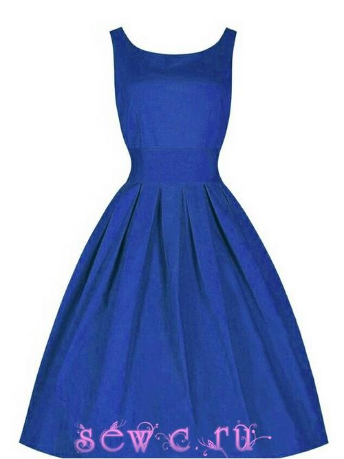 Платье в стиле 50-60-х в Классика Ретро , цвет Синий, р.S