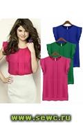 Блуза из шифона, цвет: зеленый, р.L Распродажа!!!