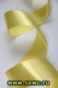 Атласная лента 38 мм. Рулон, цв. Лимонный.
