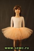 Пышная юбка из фатина для девочки, 6 слоев, персиковая.