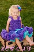 Суперпышная юбка американка Pettiskirt фиолетово-бирюзовая, 5-8 лет.
