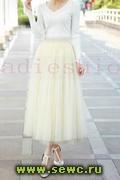 Пышная юбка из фатина. Цвет: Айвори. Длина 85 см.