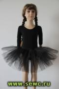 Пышная юбка из фатина для девочки, 3 слоя, черная.