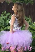 """Юбка из фатина с подкладкой """"Фея"""", дл.50 см., цв.Сиреневый. + детская юбка дл. 35 см."""