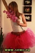 Пышная юбка из фатина, цвет малиновый, длина 45-50 см.