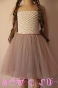 Пышная юбка из фатина для девочки, 4 слоя, розовая пастель