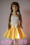 Юбка в горошек для девочки. Цвет: желтый, 5-8 лет, р.110-128