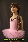 Купальник-боди детский с пышной юбкой, хлопок. Цвет: розовый. Рост 116-134 см.