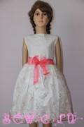 Платье из органзы на хлопковой основе. Цвет: белый, розовый