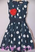 Платье в горошек для девочки с подъюбником и красным цветком, темно-синее, р.134-140