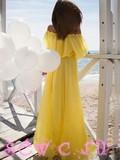 Платье открытые плечи, цв. Желтый, р. 42-48