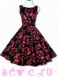 """Платье в стиле 50-60-х цв. Черный """"Розы"""", р.S,M,L,XL,XXL."""