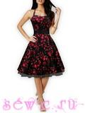 """Платье на лямках в стиле 50-60-х цв. Черный """"Розы"""", р. М, L."""