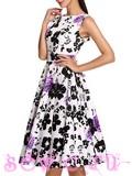 """Платье в стиле 50-60-х цв. Белый """"Сиреневые Розы"""", р.S,M,L,XL,XXL."""