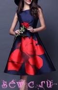 Платье ретро, цв. Темно-синий с красной розой, S, M, L, XL.