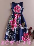 Платье ретро, цв. Темно-синее с большими цветами, S, M, L, XL.
