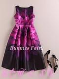 Платье ретро, цв. Фиолетовый с георгиной, S, M, L, XL.