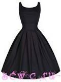 """Платье в стиле 50-60-х в """"Классика Ретро"""", хлопок, цвет Черный, р.S, M, L, XL, XXL."""