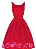 """Платье в стиле 50-60-х в """"Классика Ретро"""", хлопок, цвет Красный, р.S, M, L, XL, XXL."""