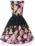Платье ретро с поясом, цв. Черный с розовыми розами, M.