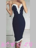 Платье стрейч футляр, цв.темно-синий
