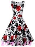 """Платье в стиле 50-60-х цв. Белый """" Красные Розы"""", р.S,M,L,XL,XXL."""