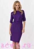Платье повседневное из трикотажа, цв.фиолетовый, р. 42-46