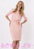 Платье повседневное из трикотажа, цв.розовый, р. 42-44