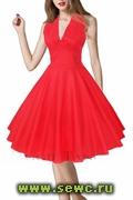 Платье в стиле Мерлин Монро, хлопок, цв.Красный, р.S,M,L,XL,XXL.