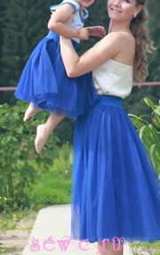 Юбки из фатина для мамы и дочки, комплект, цв. Синий