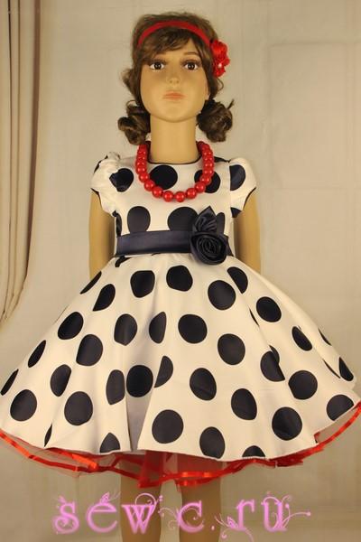 20aee5e31fb Платье атласное белое в темно-синий горох