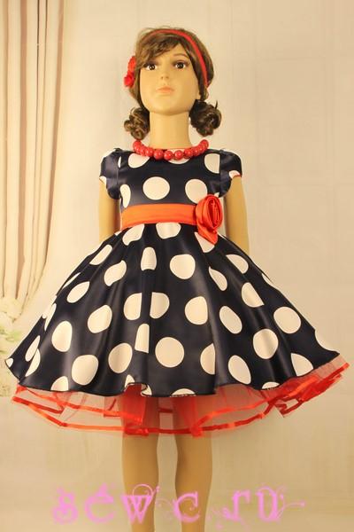 c670c710d35 Платье атласное темно-синее в белый горох