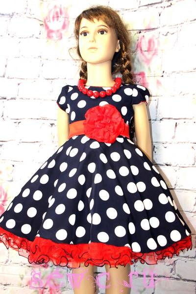 21cdd27b63a Детское платье ретро в крупный горох