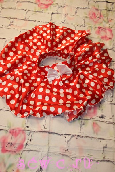 ae0553532c68 Юбка в горошек детская, атлас. Цвет: красный в белый горох, 4-8 лет.